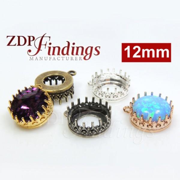 1122 12mm Shiny Brass Crown Bezel