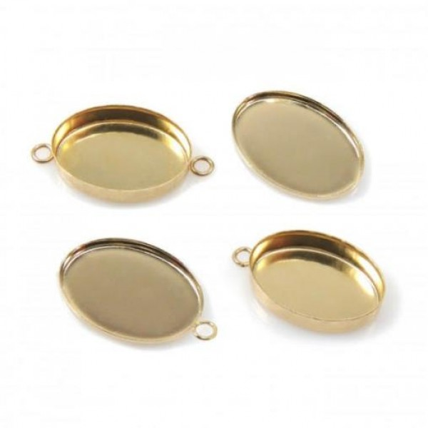 12x10mm Oval Gold Filled Bezel Cup