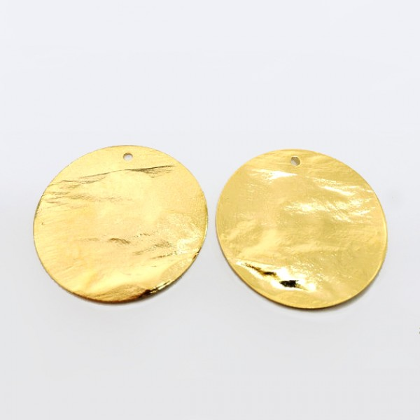 40mm Round Shiny Gold Discs