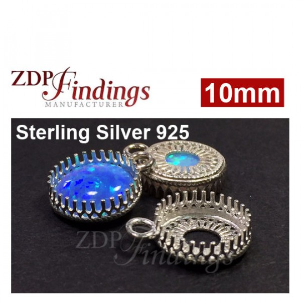 10mm Round 925 Silver Bezel Cup