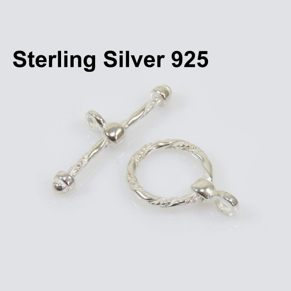 Sterling Silver 925 Round Toggle Clasp 12mm