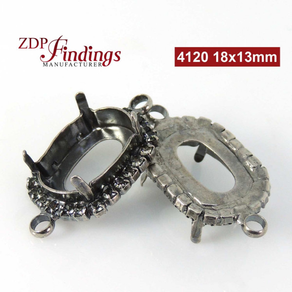 Oval 18x13mm Bezel Connector fit Swarovski 4120