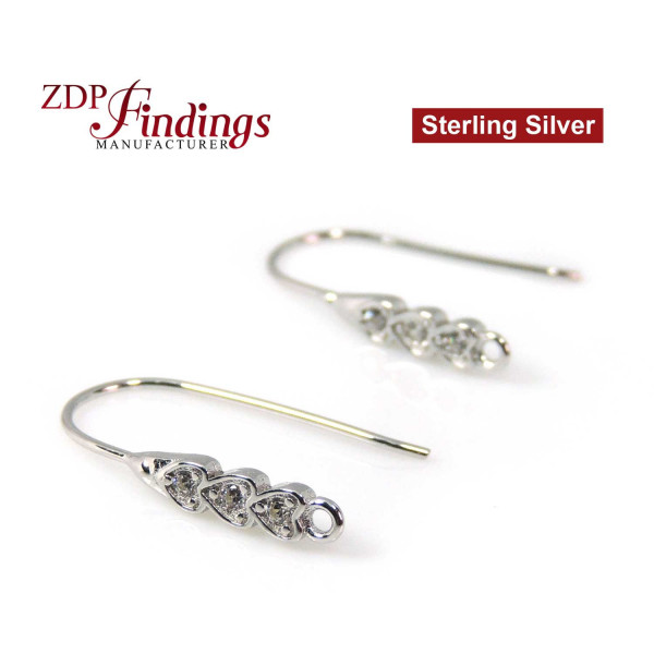 Earring base with CZ Sterling Silver 925 Rhodium plated