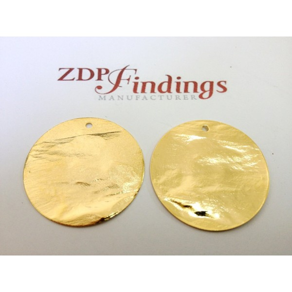 25mm Round Shiny Gold Discs