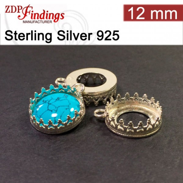 12mm Round 925 Silver Bezel Cup