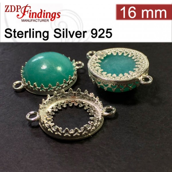 16mm Round 925 Silver Bezel Cup