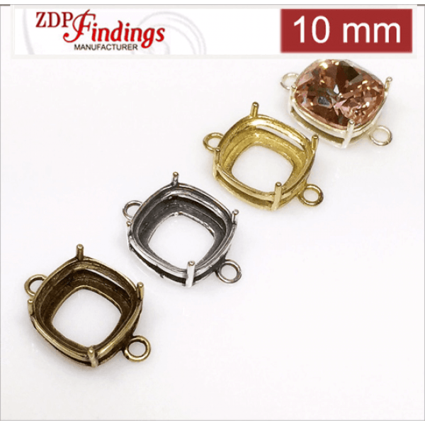 10mm Square (cushion) Brass Bezel, choose your finish.