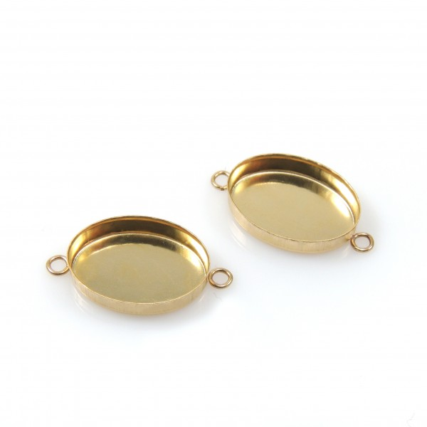 14x10mm Oval Gold Filled Bezel Cup with 2 Loops