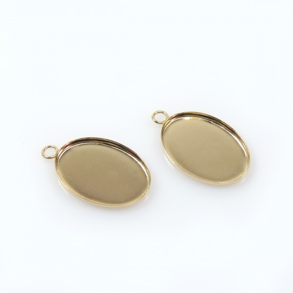 14x10mm Oval Gold Filled Bezel Cup with 1 Loop
