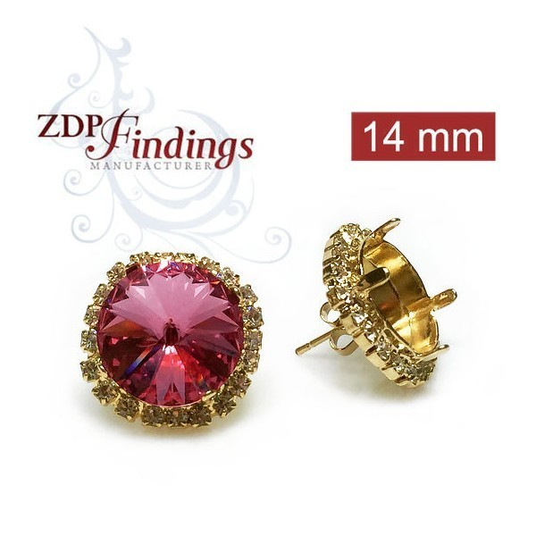 14mm 1122 Swarovski Post Rhinestone Earrings