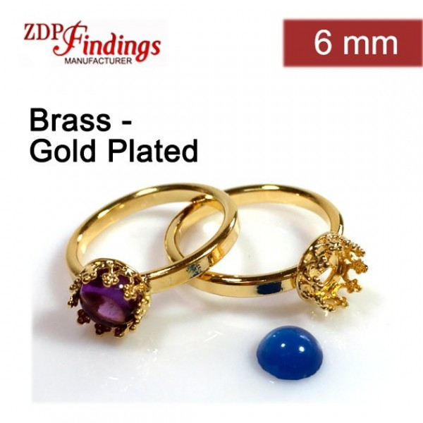 6mm Round Ring Base Shiny Gold