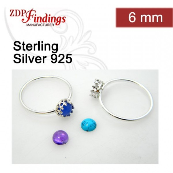 6mm Round Ring Base Shiny Sterling silver 925, Choose your ring size.