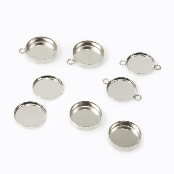 10mm Round 925 Sterling silver Bezel Cup Connector