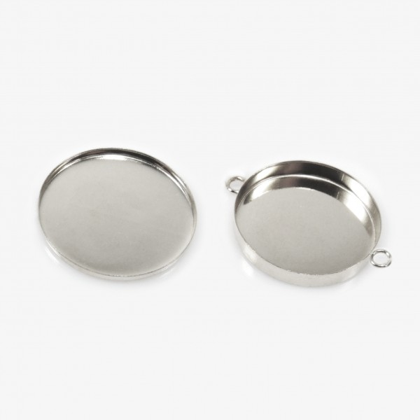 35mm Round 925 Sterling silver Bezel Cup Connector