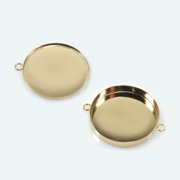 25mm Round Gold Filled Bezel Cup