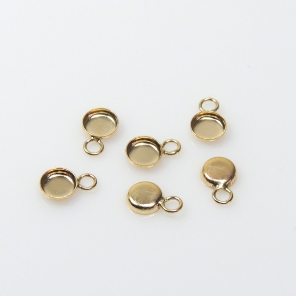 4mm Round Gold Filled Bezel Cup with 1 Loop