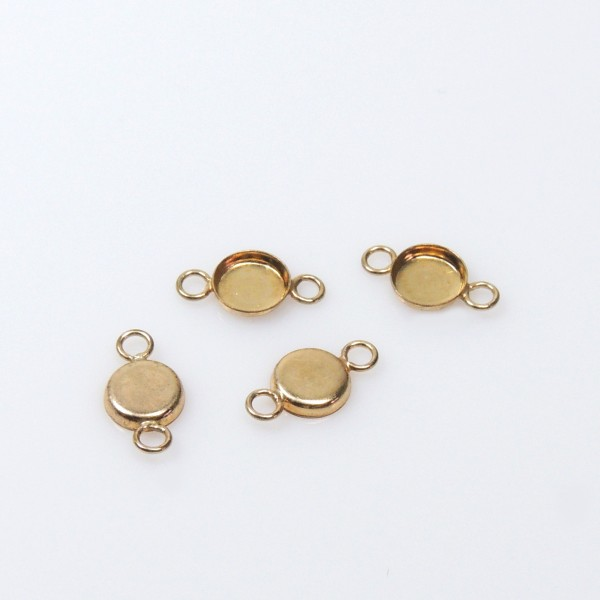 5mm Round Gold Filled Bezel Cup with 2 Loops