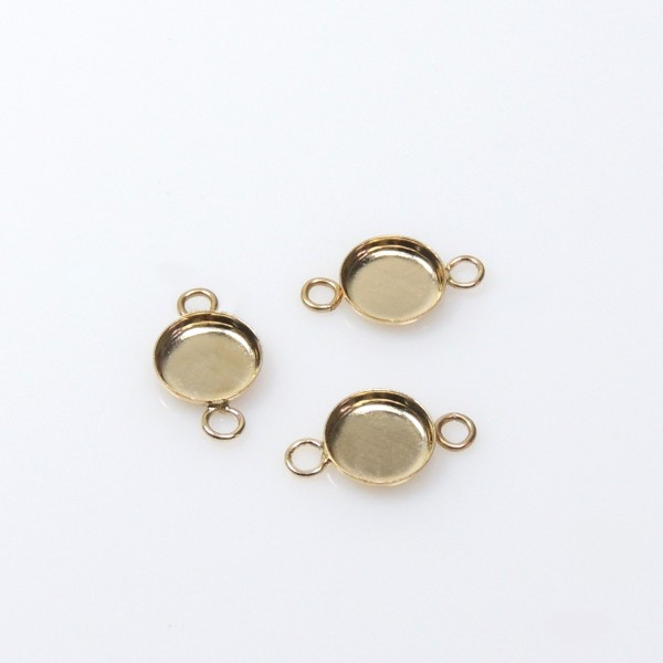 6mm Round Gold Filled Bezel Cup with 2 Loops