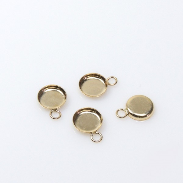 6mm Round Gold Filled Bezel Cup With Loop