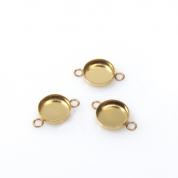 7mm Round Gold Filled Bezel Cup with 2 Loops