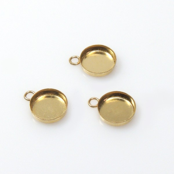7mm Round Gold Filled Bezel Cup with 1 Loop