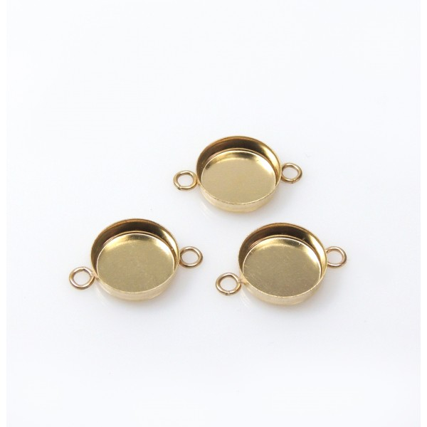 8mm Round Gold Filled Bezel Cup with 2 Loops