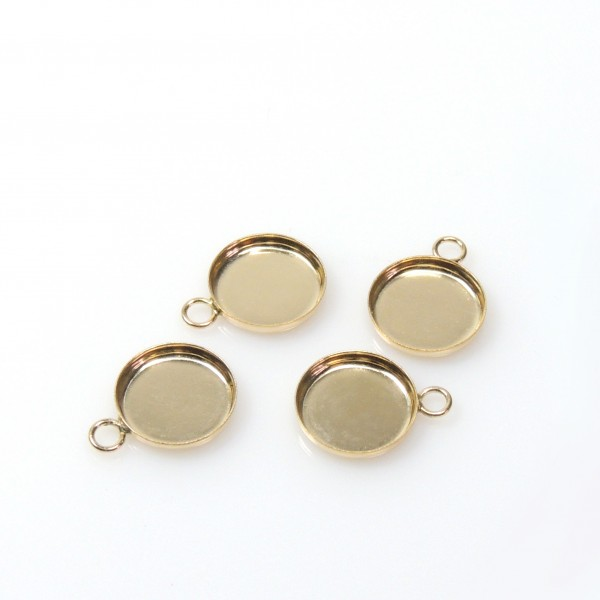 8mm Round Gold Filled Bezel Cup with 1 Loop