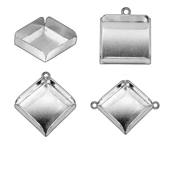 14mm Square  925 Sterling silver Bezel Cup Connector