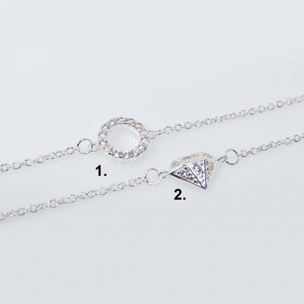 Silver Plated Link Chain Delicate CZ Necklace, Length 16