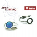 8mm Round Ring Base Shiny Sterling silver 925