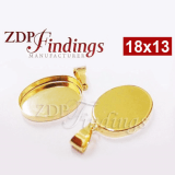 18x13mm Oval Gold Filled Bail Bezel Cup Setting