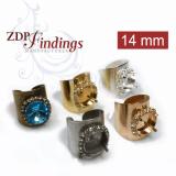 Round 14mm Bezel Wide Rhinestone Ring Setting, Fit Swarovski Rivoli 1122