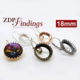 18mm Round Crown Bezel Earrings for Swarovski Rivoli 1122,