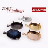 30x22mm Oval Pendant with Bail Fit Swarovski 4547