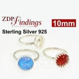 10mm Crown Bezel Sterling Silver 925 Ring