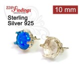 10mm Post Earring, 925 Sterling silver