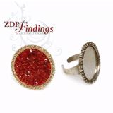Round 24mm Bezel Rhinestone Ring Settings-Shiny Gold