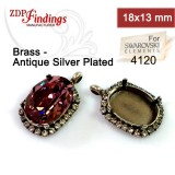 18x13mm Pendant w/ Rhinestones Antique Silver Plated