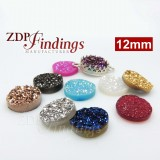 Round 12mm Natural Druzy Gemstone Flat Back
