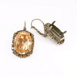 Oval 18x13mm Earrings with Topaz Rhinestones Fit Swarovski 4120