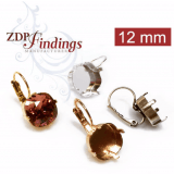Square 12mm Leverback Earrings Fit Swarovski 4470-Antique Brass