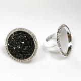 Round 24mm Bezel Rhinestone Ring Settings-Shiny Silver