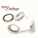 Oval Sterling Silver 925 Crown Bezel Cast Post Earrings