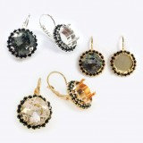 Square 12mm Black Rhinestone Earrings fit Swarovski 4470