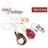 18x13mm Pear Bezel Lever back Earrings for Swarovski 4320 (LBN20V)