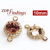 10mm Bezel For Setting Gold Plated with Clear Crystal Rhinestones fit Swarovski 4470