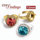 12mm Square Rhinestone Ring with fit Swarovski 4470