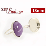 18mm Round Bezel 925 Sterling silver Ring