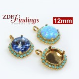 12mm Gold Plated Bezel with Rhinestones