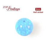 8mm Lab Created Round Blue Half Drilled Opal Gemstone Bead